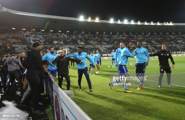 Confrontations between Olympique Marseille supporters and players before the start of the UEFA Europa League match between Vitoria de Guimaraes and...