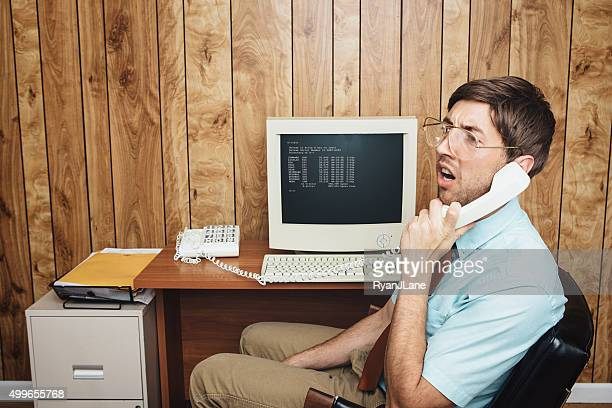 confused and bored office worker - nerd stock pictures, royalty-free photos & images