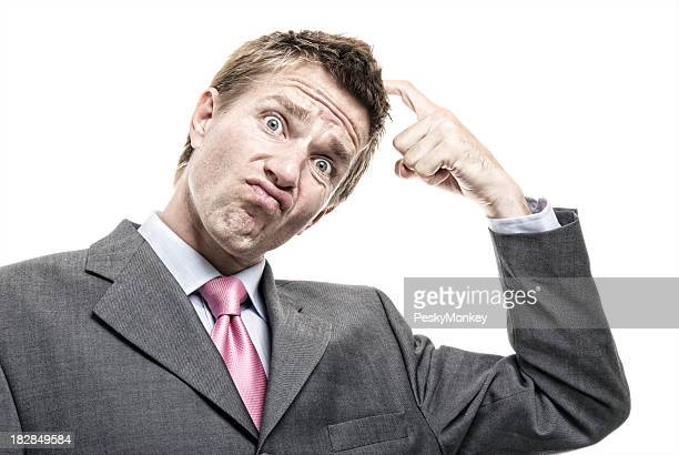 Confused Businessman Scratching Head Funny Face White Background