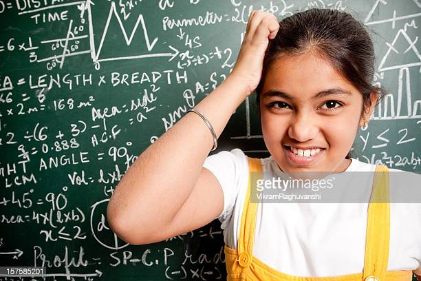 Confused Indian Girl Student with Mathematics Problems
