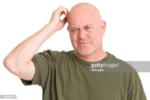 confused man scratching head - fat bald men stock pictures, royalty-free photos & images