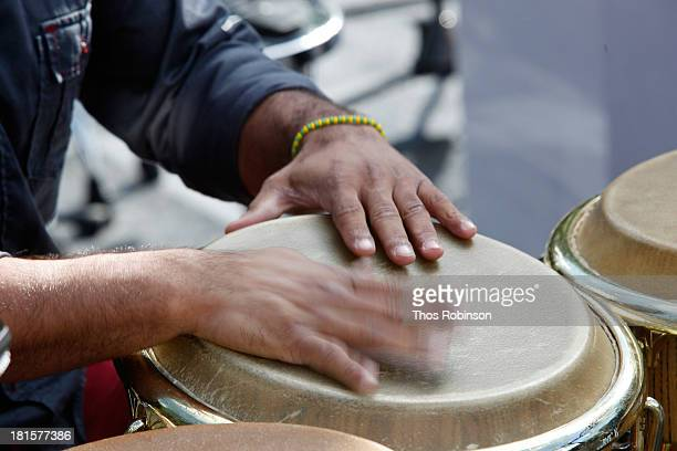 Conga player Yusnier Sanchez performs at the Shinnyo Lantern Floating For Peace event at Trump Rink at Central Park on September 22 2013 in New York...