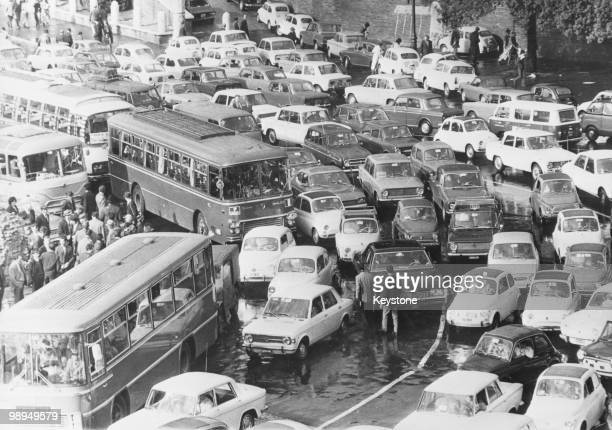 Congested traffic on a rainy day in Rome 19th November 1971