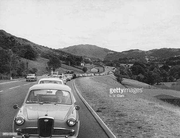 Congested traffic on the Keswick Road in Ambleside Cumbria circa 1970