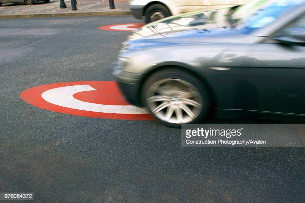Congestion charge area sign on a road central London UK