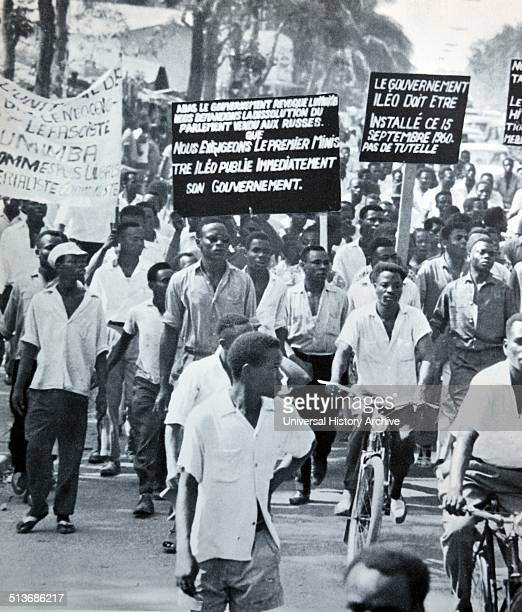 Congo Leopoldville 1960 Congolese protesters demonstrate for independence from Belgium