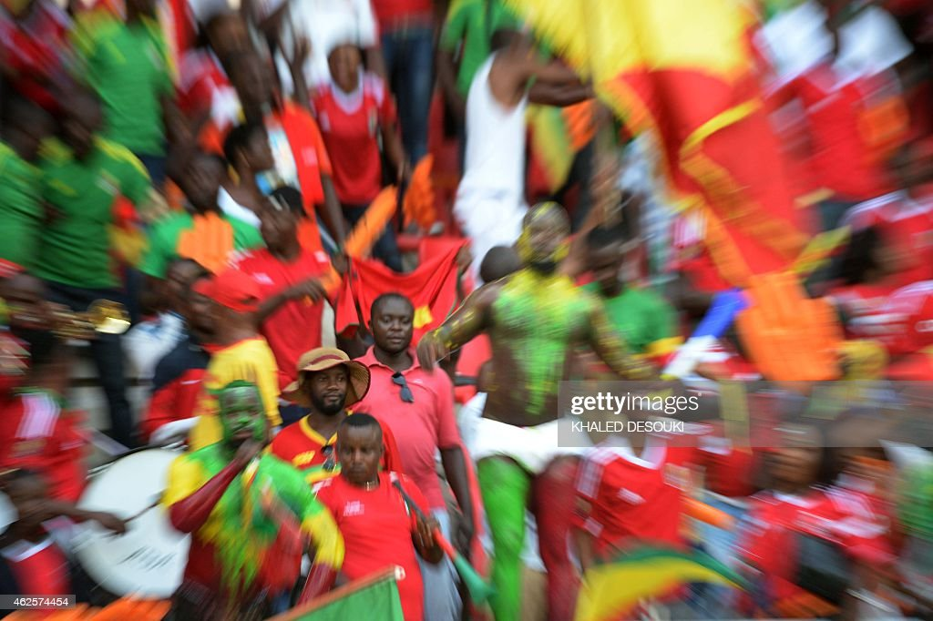 Congo supporters attend the 2015 African Cup of Nations quarter final football match between Congo and Republic of the Congo in Bata, on January 31, 2015.