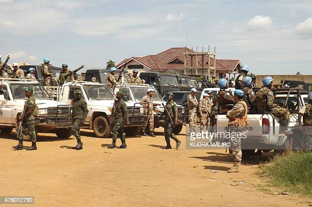 Congolese Army and United Nations troops arrive at the ceremony for the nomination Army Brigadier General Marcel Mbangu Mashita as new leading...
