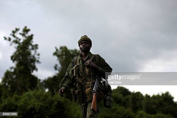Congolese army soldier walks at the frontline, November 12, 2008 in the outskirts of the town of Goma, DR Congo. The head of UN peacekeeping has...