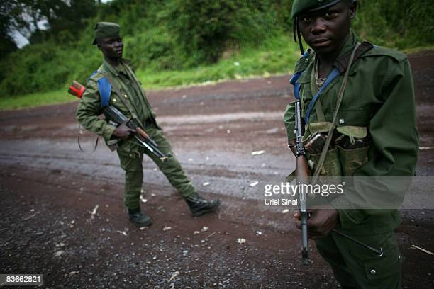 Congolese army soldiers at the frontline, November 12, 2008 in the outskirts of the town of Goma, DR Congo. The head of UN peacekeeping has asked the...
