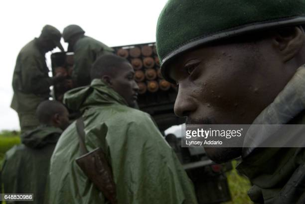 Congolese Army soldiers prepare artillery while fighting Laurent Nkunda's National Congress for the Defence of the People CNDP rebel forces in Karuba...