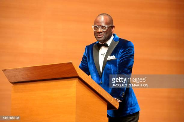 Congolese author Alain Mabanckou speaks on March 17 2016 at the College de France in Paris during his inaugural lecture the first time a writer has...