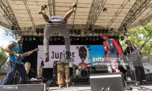 Congolese band Jupiter and Okwess from the Democratic Republic of the Congo at Central Park SummerStage New York New York July 29 2018 From left Lead...