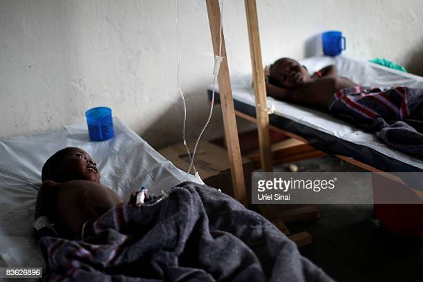 Congolese boys ill with Cholera are treated in a clinic at the Don Bosko orphanage November 10 2008 in the town of Goma Congo Over 250000 people have...
