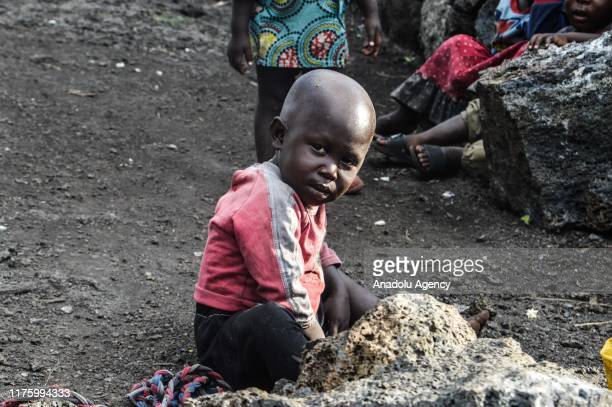 Congolese child is seen in Goma, Democratic Republic of Congo on October 10, 2019. While more than 820 million people worldwide struggle with hunger,...
