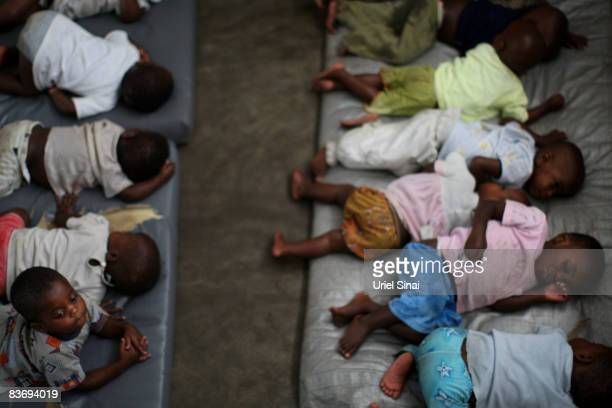 Congolese child refugees some orphaned or separated from their family after conflict in the region displaced them find shelter at the Don Bosco...