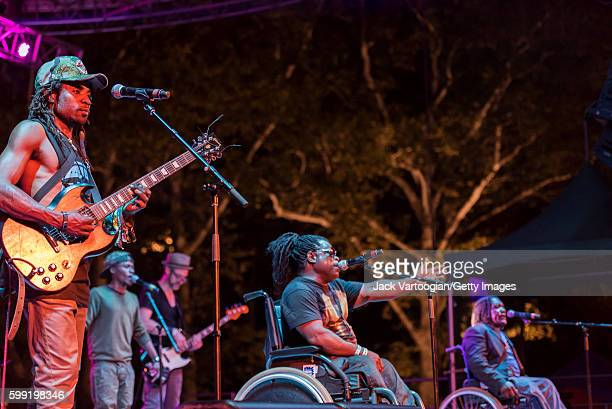 Congolese group Mbongwana Star performs at Central Park SummerStage New York New York August 14 2016 Pictured are from left guitarist JeanClaude...