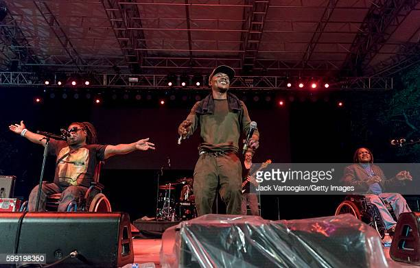 Congolese group Mbongwana Star performs at Central Park SummerStage New York New York August 14 2016 Pictured are from left singers Theophile 'Theo'...