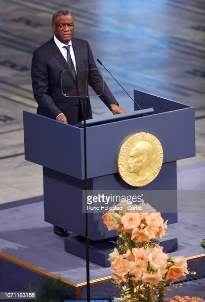 Congolese gynecologist Denis Mukwege attends the Nobel Peace Prize ceremony 2018 at Oslo City Town Hall on December 10, 2018 in Oslo, Norway. The...
