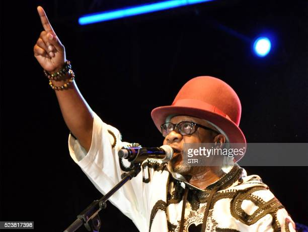 Congolese music star Papa Wemba performs during the Femua music festival in Abidjan on April 24 2016 before collapsing on stage The flamboyant world...