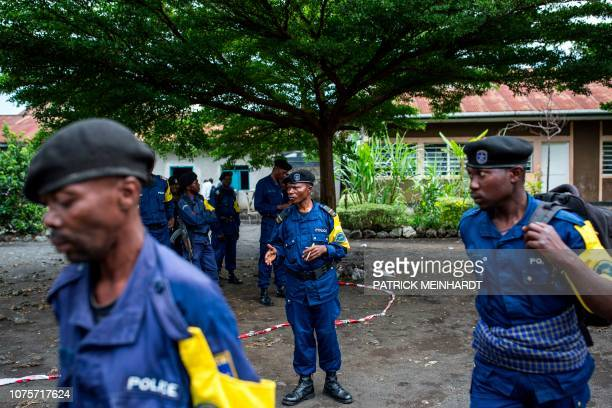 Congolese National Police officers are deployed at Katendere polling center in Goma on December 29, 2018. - One of the world's powder-keg countries...