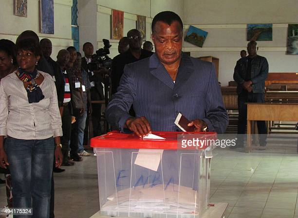Congolese President Denis Sassou Nguessou casts his ballot on October 25 2015 in Brazzaville People in the Republic of Congo began voting in a...