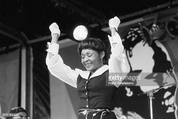 Congolese singer Mbilia Bel performs on August 27th 1993 at the Africa Festival in Delft, Netherlands.
