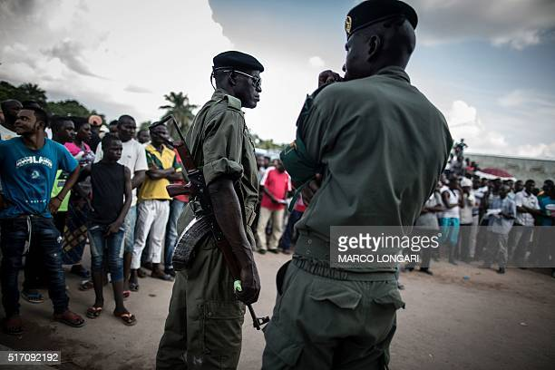 Congolese soldiers assigned to the protection of Guy Brice Parfait Kolelas the Interim President of the Congolese Movement for Democracy and Integral...