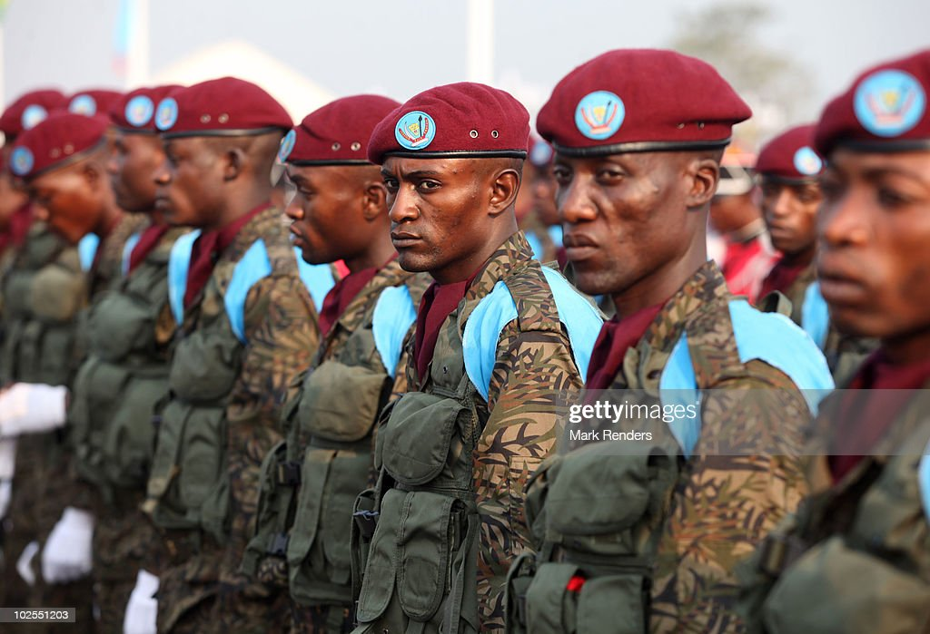 Congolese soldiers stand in line during the 50th anniversary parade marking the independence of the Democratic Republic of Congo on June 30, 2010 in Kinshasa, Democratic Repuplic of Congo. King Albert II of Belgium and Queen Paola of Belgium are on a 3 day state visit attending as guests of the 50th anniversary celebrations.