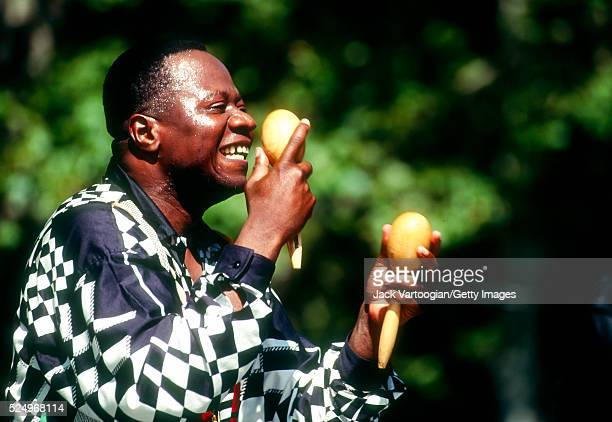 Congolese Soukous musician Papa Wemba performs onstage at SummerStage in Central Park New York New York July 15 1990