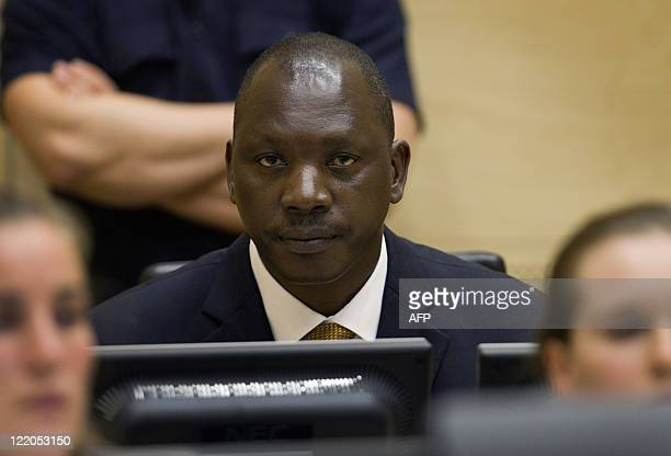 Congolese warlord Thomas Lubanga sits in the courtroom of the International Criminal Court in the Hague, on August 25, 2011. Former Congo militia...