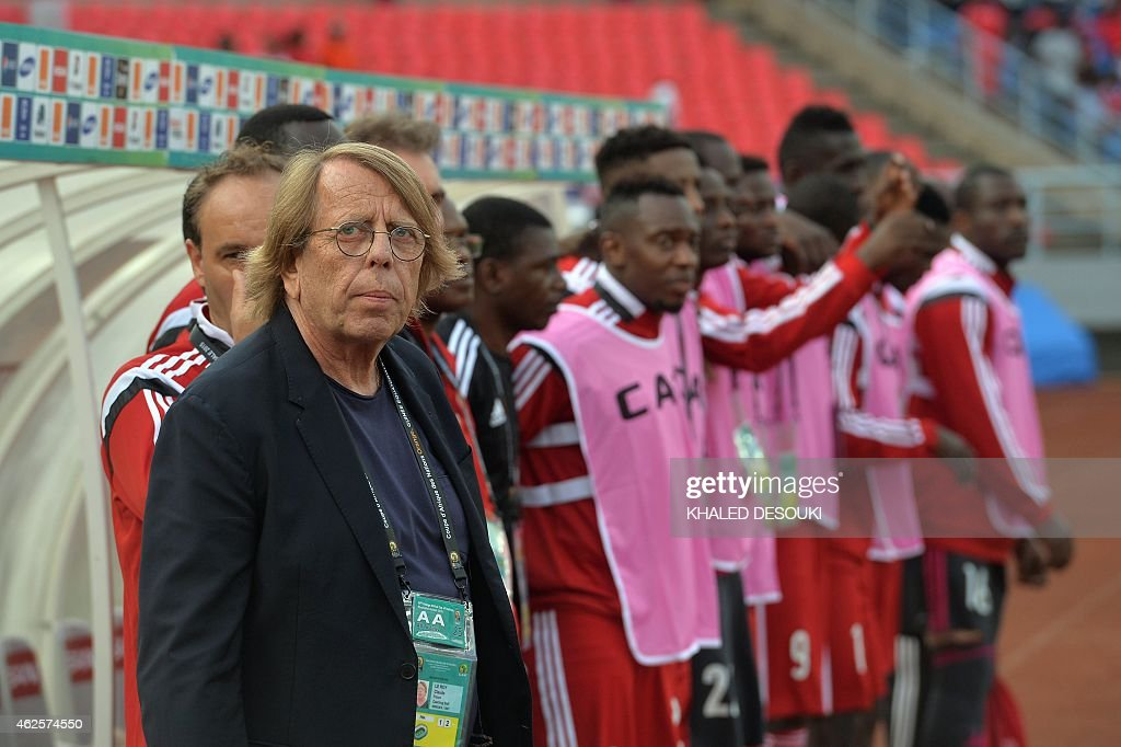 Congo's coach Claude Le Roy attends the 2015 African Cup of Nations quarter final football match between Congo and Republic of the Congo in Bata, on January 31, 2015.