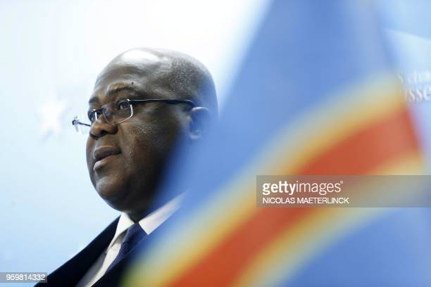 Congo's main opposition Union for Democracy and Social Progress party president Felix Tshisekedi speaks during a press conference at the Press Club...