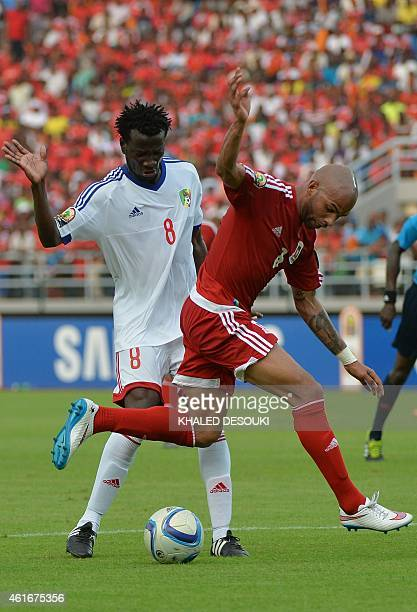 Congo's midfielder Delvin Ndinga challenges Equatorial Guinea's midfielder Randy during the 2015 African Cup of Nations group A football match...