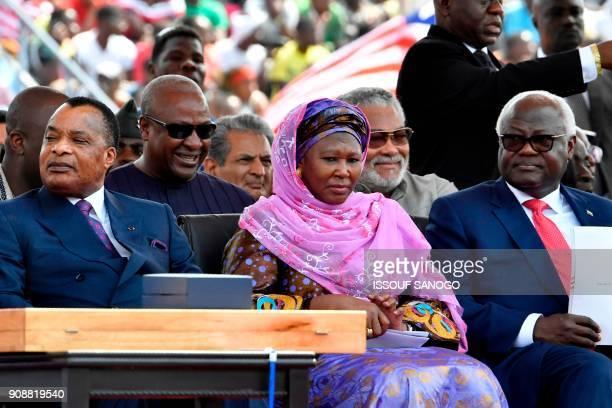 Congo's President Denis Sassou Nguesso Ghana's former Presidents John Dramani Mahama and Jerry Rawlings vicepresident of Gambia Fatoumata Tambajang...