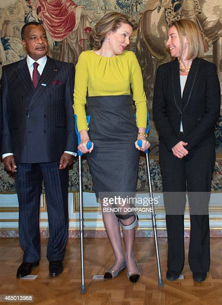 Congo's President Denis Sassou NGuesso Queen Mathilde of Belgium and EU foreign policy chief Federica Mogherini pose as they arrive attend a...