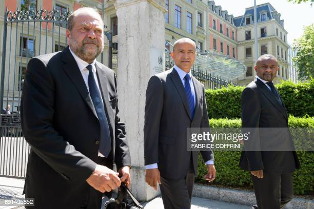 DR Congo's prominent opposition politician Moise Katumbi leaves the Palais Wilson flanked by his lawyer French Eric DupondMoretti after filling a...