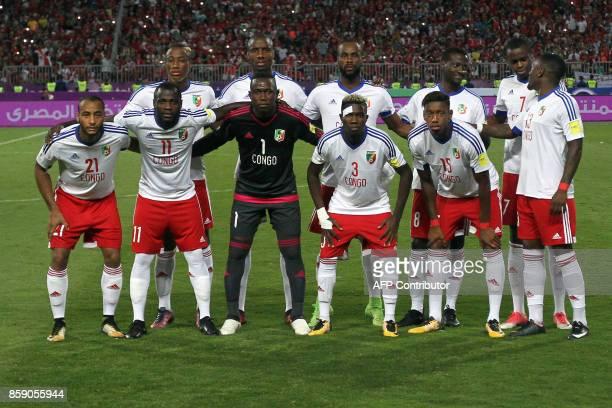 Congo's Tobias Badila Dzon Delarge Barel Mouko Ramaric Presley Etou Thomaso Dylan SaintLouis Thievy Bifouma pose for a team picture during their...
