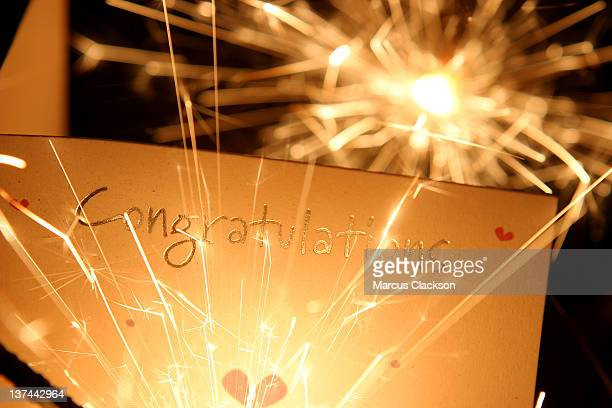 Congratulations card with sparklers