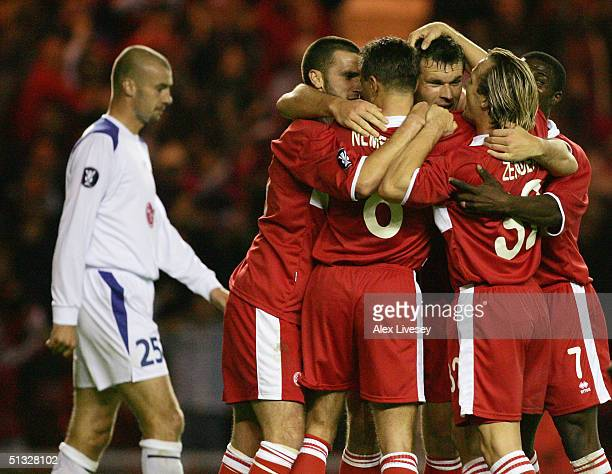 Congratulations for Middlesbrough goalscorer Mark Viduka during the UEFA Cup first round, first leg match between Middlesbrough and Banik Ostrava at...