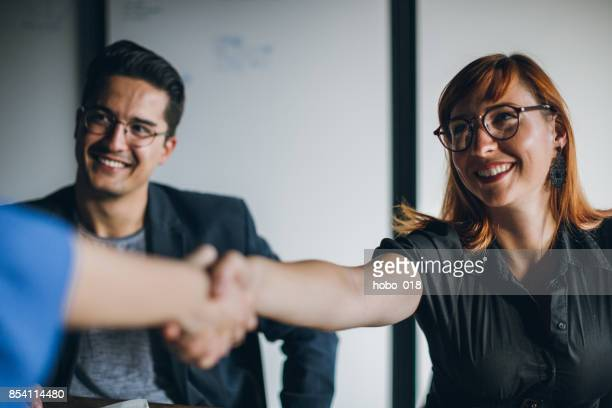 congratulations, you are our new employee - recruiter stock pictures, royalty-free photos & images