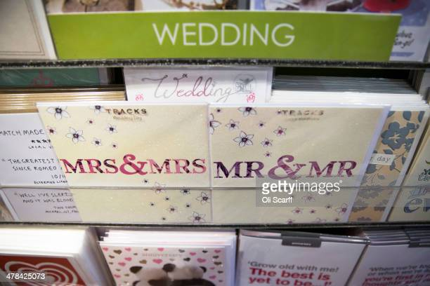 Congratulatory cards for gay marriages are displayed for sale on March 13 2014 in London England Samesex couples in England and Wales who are...