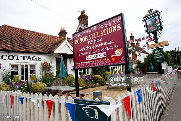 A congratulatory sign for the Duke and Duchess of Cambridge celebrating the birth of their son is seen outside the Cottage Inn pub in the Duchess of...