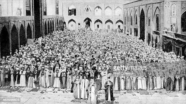 A congregation faces the holy Kaaba in Mecca's mosque Saudi Arabia 1922 From Peoples of All Nations Their Life Today and the Story of Their Past...