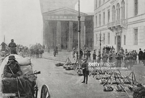 Congregation of German troops at the Brandenburg Gate during the military coup attempt Putsch of Kapp Berlin Germany from L'Illustrazione Italiana...