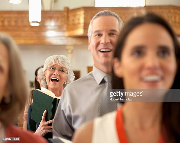 Congregation singing in church