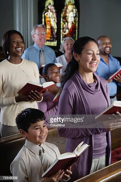 Congregation singing in church