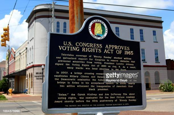 'US Congress Approves Voting Rights Act Of 1965' Historic marker in Selma Alabama on July 8 2018