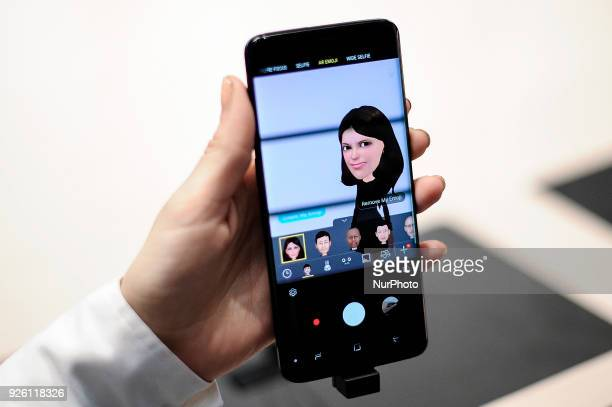 A congress attendant testing the new AR emojis of Samsung Galaxy S9 at Samsung pavilion during the Mobile World Congress day 4 on March 1 2018 in...