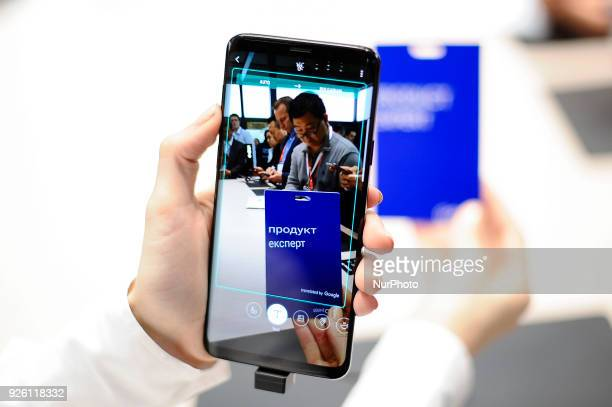 A congress attendant testing the simultaneous translation camera of Samsung Galaxy S9 at Samsung pavilion during the Mobile World Congress day 4 on...
